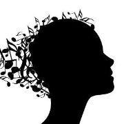 Head with musical notes like hair. Silhouette. Illustration.