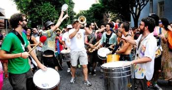 Musicians in the street at a parade.