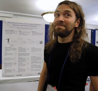 Ståle A. Skogstad presents his poster at NIME 2012