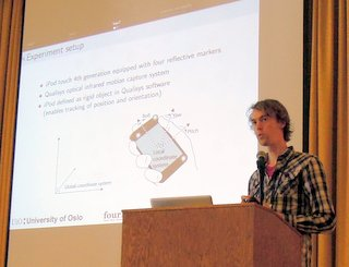 Kristian Nymoen presents his paper at NIME 2012