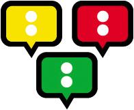 Tre punkter i gult, rødt og grønt som minner om trafikklys. Illustrasjon.
