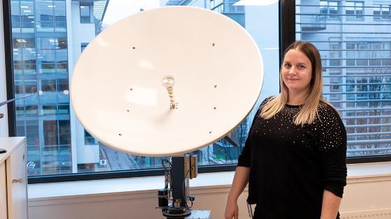 Hva kan du jobbe med med astrofysikk? Elisabeth i Marlinks lokaler.
