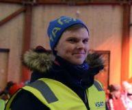 Magnus Isaksen i en av antennene på Svalbard