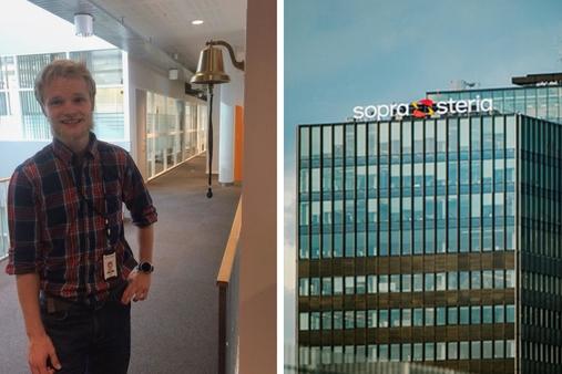 07fe302d Kristoffer er konsulent i gigantbedriften Sopra Steria hvor han lager  IT-løsninger for mer gledelig grubling. Foto: Åsta Dale, UiO/Sopra Steria