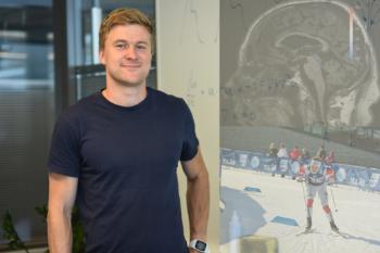 Bilde av Vegard foran en tavle. Dobbelekspnering av en MR-scan av en hjerne, samt av Vegard i langrennssporet.