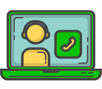 Green PC with symbol for video meeting