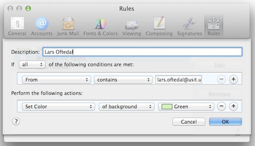 558a1170 Sette opp regel om å vise bestemte e-post med farge