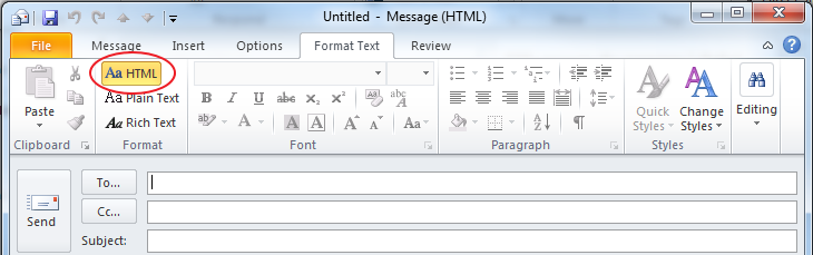 Write Formatted E Mail In Outlook