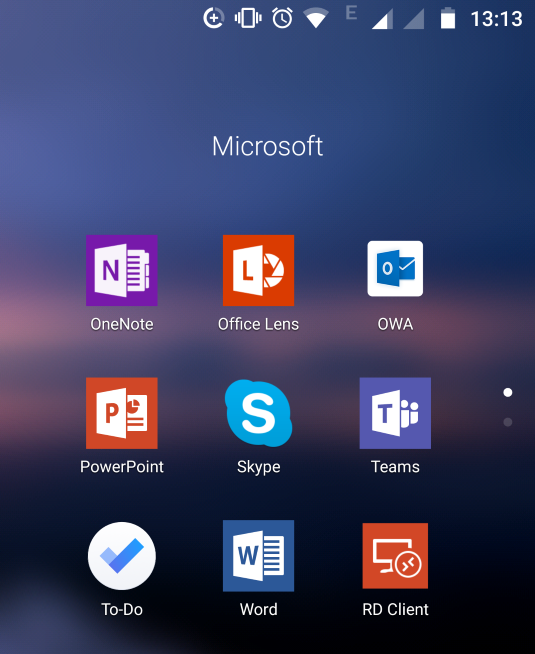 Microsoft Apps installed on Android
