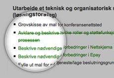 Ny tekst er grønn. Slettet tekst er grønn og gjennomstreket